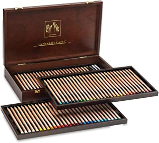 Caran d'Ache 木箱,有76种组合颜色+ 4种双色,2个完整搅拌器,1个Grafwood HB和1个Grafwood 5B