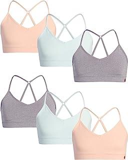 Danskin 女童训练文胸 – 6 件装无缝工字背心运动内衣