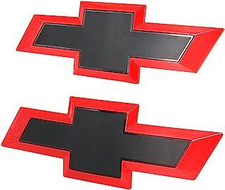 Guzetop 前挡板蝴蝶结徽章兼容 2016-2018 雪佛兰 GM Silverado 1500(黑色和红色)