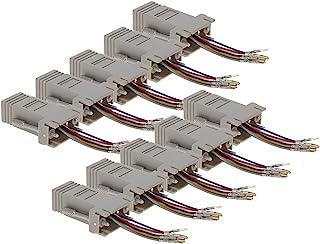 Heyiarbeit 9 针 2 排 DB9 VGA 性别转换器 母头到 RJ45 迷你性别转换器耦合器适配器连接器 适用于串行应用 米色 10 件