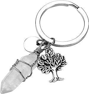 Jovivi 六边形宝石钢丝缠绕水晶*点脉轮吊坠钥匙扣银生命之树魅力钥匙圈 透明水晶石英