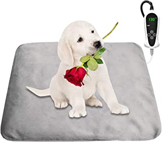 宠物加热垫猫狗加热垫室内防水自动恒温自动关闭带2个盖子和免费绒毛滚筒(M-18英寸x18英寸)