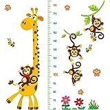 DEKOSH 长颈鹿和猴子儿童身高挂图 | 即剥即贴幼儿园墙壁贴花,适用于婴儿卧室,幼儿游戏室