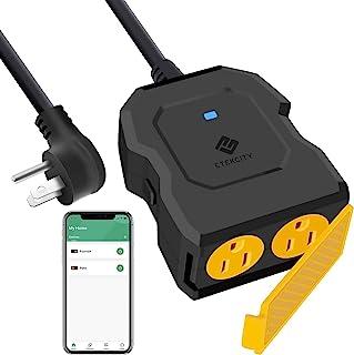 ETEKCITY 户外智能插头,带有2个插座的户外WiFi插座,可与Alexa和Google Home配合使用,无线远程控制,能源监控和计时器功能,防水功能,FCC和ETL认证