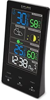 EXPLORE SCIENTIFIC WSC4009 气象站,带彩色触摸显示屏,天气预报,双闹铃,月相,白色