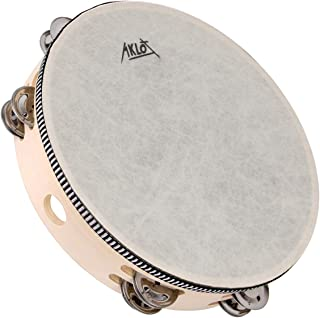 AKLOT 10 英寸手鼓 8 对双排金属铃铛 山毛榉打击乐乐器教育乐器适用于派对、儿童舞蹈和歌曲伴奏