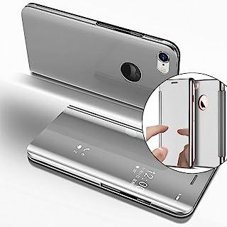 LEECOCO 手机壳 iPhone 6S Plus 闪光闪光液体闪耀浮动水晶印花花朵 TPU 硅胶缓冲防震保护套外壳 iPhone 6 Plus 5.5 英寸 M] Silver Mirror PU