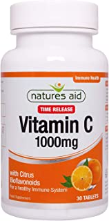 Natures Aid Vitamin C, Time Release 30 Tablets, 1000 mg (with Citrus Bioflavonoids, Slow Release, for the Normal Function ...