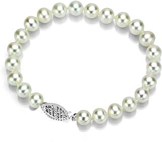 白色 Akoya 养殖珍珠手链 女士首饰 14K 白金 7.5-8mm 6.5 英寸