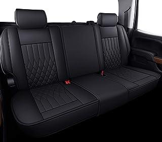 Aierxuan Silverado Sierra Rea 座椅套,带防水皮革,适合 2007-2021 1500/2500 HD / 3500 HD 船员,双人,扩展驾驶室或皮卡车(黑色)