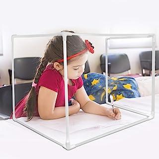 CALIDAKA 办公桌隔板桌面防护板亚克力和塑料可拆卸桌面面板,防护喷嚏护罩,桌面隔板适用于办公室工作和学生学习,减少干扰