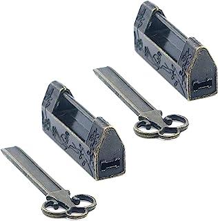 MY MIRONEY 2 件装复古青铜雕刻花鸟挂锁小号复古装饰锁 旧中国锁 带钥匙用于首饰盒抽屉