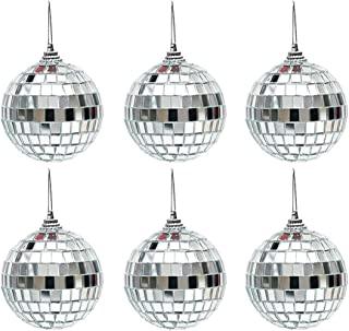 Mirror Disco Ball 反光玻璃镜球银色悬挂迪斯科球,反光镜球玻璃镜闪光球圣诞树派对装饰适用于 DJ 婚礼舞台派对圣诞节(6 件装)
