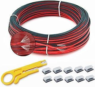 66FT 20 Gauge Hookup 电线 2 针红色黑色电缆延长线 12V/24V DC 电缆,20AWG 2 导体柔性低压锡铜线适用于 LED 丝带灯汽车音频汽车拖车
