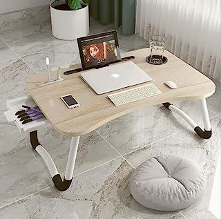 笔记本电脑桌,便携式可折叠笔记本电脑托盘桌,带 USB 充电端口/杯架/储物抽屉,适用于床/沙发/沙发工作,阅读(木色)