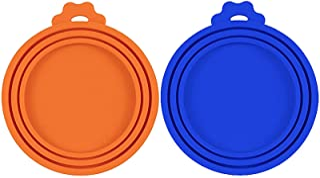 宠物食品罐盖硅胶罐盖,适用于狗和猫粮,宠物食品盖,通用尺寸 均码 3 个标准尺寸的食品罐(蓝色+橙色)