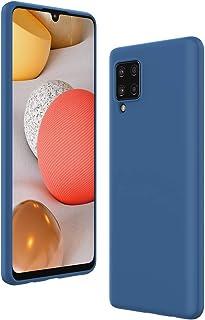 Cresee 兼容三星 Galaxy A42 5G 手机壳,超薄硅胶保护套,带超细纤维内饰防刮超薄贴合灵活手机壳 - 蓝色