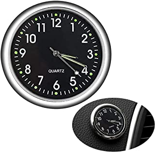 JEDEW 汽车时钟 迷你石英模拟汽车仪表板时间通风口贴在钟表汽车装饰通用和夜光(黑色)