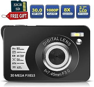 30 万像素数码相机 2.7 英寸高清相机可充电迷你相机学生相机口袋数码相机带 8 倍变焦紧凑型相机带 32 GB SD 卡用于摄影