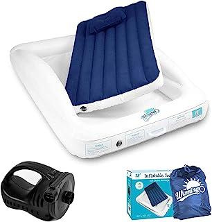 WINNINGO *充气幼儿旅行床,带可充电高速泵,便携式充气床垫,带*缓冲垫,空气枕头和手提袋(白色)