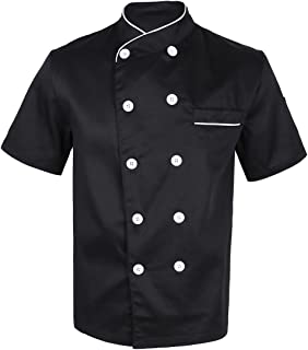 TSSOE 中性短袖厨师外套夹克双排扣厨房厨师制服