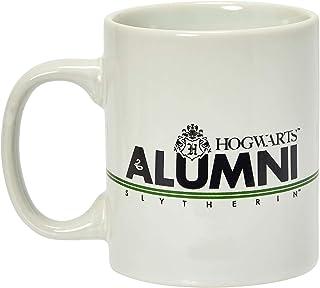 哈利波特 Slytherin 校友马克杯 325 毫升 - 白色陶瓷杯带手柄 - 霍格沃茨 Crest & House *条纹黑色刻字 - 来自 Rowling 的巫术世界