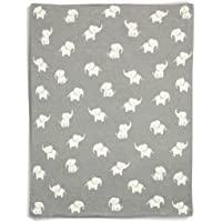 Mamas & Papas 100%纯棉柔软毯子,适用于婴儿车/婴儿床,大象图案,宽80cm长100cm-灰色/白色大象