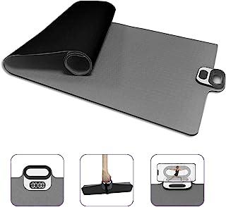 瑜伽垫,双面防滑瑜伽垫带手机夹智能计时器,高*抗撕裂,TPE,防汗便携式普拉提运动垫带手柄适用于瑜伽普拉提和地板锻炼(灰色)