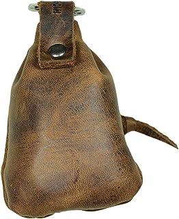 隐藏和饮料,皮革迷你中世纪小袋/钥匙扣/钥匙圈/夹子/硬币收纳/可爱礼物/配件,手工制作:波旁棕色