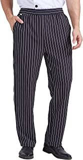 Nanxson 男士宽松厨师裤,经典条纹工作裤,带弹性腰部餐厅厨房制服 CFM2015(条纹,小号)