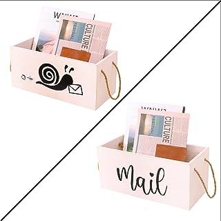 木制邮件收纳箱 邮袋 可爱文件盒 邮件分类 办公室 办公桌 收纳篮 邮寄收纳盒 台面 储物盒 农舍 木质 装饰 白色