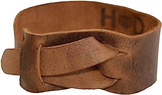 隐藏和饮料,皮革手链/中性/可调节/腕带/古典时尚/打结,手工制作包括 101 年质保:波旁棕色
