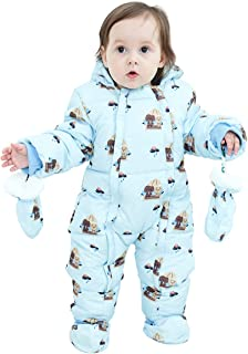 婴儿保暖冬季防雪服动物卡通连衫裤羊毛连帽羽绒服外套