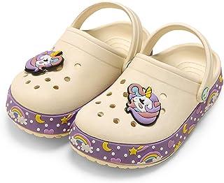 SEMARY 女童平底凉鞋露趾踝带搭扣皮革凉鞋户外和室内(幼儿/小童/大童)