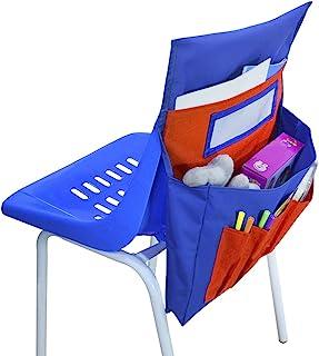 儿童椅背口袋图表 教室椅子后座储物收纳盒 学生姓名标签带口袋 儿童桌椅靠背收纳袋 适用于学校学生日托教室用品