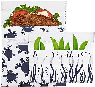Lunchskins 可重复使用 2 件食品储存袋套装,1 个三明治袋 + 1 个零食袋,*蓝海龟