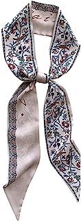 DEOIRC 丝绸般花卉印花紧身围巾窄领时尚包丝带围巾发箍时尚发带