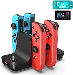 6 合 1 Nintendo Switch 充电底座,充电底座带充电指示器,多功能扩展坞充电器,适用于 Nintendo Switch/Lite 控制台,Switch Pro 控制器,Joy Cons 游戏控制器