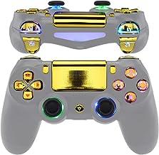 eXtremeRate 多色发光 D-pad 拇指棒触发器主脸按钮,铬金色经典符号按钮 DTFS(DTF 2.0) LED 套件适用于 PS4 超薄 PS4 Pro 控制器 - 不包括控制器