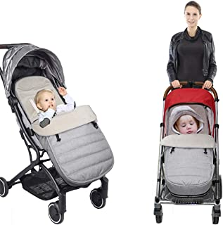 Winter Baby Footmuff,通用婴儿推车睡袋,保暖厚实天鹅绒防踢防水防风可拆卸可调节肩带位置,适合大多数婴儿车(90x42cm(灰色))