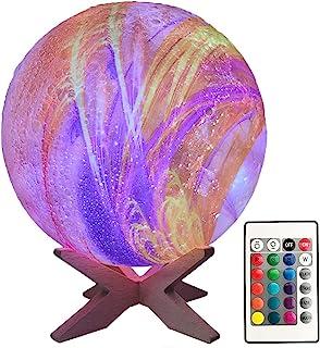 卧室 3D 月亮灯 儿童夜灯 银河灯 16 色月亮装饰 带木架 遥控和触摸控制 USB 可充电月亮灯 送给女婴 男孩生日礼物(5.9 英寸)