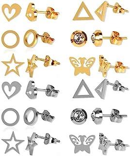 12 对迷你不锈钢几何圆形星形蝴蝶耳环耳钉空白耳环柱适用于 DIY 珠宝耳环制作带背 (M584)