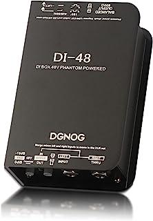 DGNOG DI48 主动直电盒带 48V 幻影功率 -15dB 垫子,180° 极性反向独特合并功能混合两个信号到单声道 80Hz 高通隆滤波地面升降器
