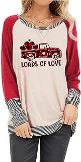 FASHGL Loads of Love 衬衫女式格子卡车图案 T 恤情人节上衣 3/4 拼接袖衬衫