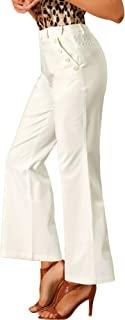 Allegra K 女式刺绣长裤蕾丝直筒办公阔腿裤长裤