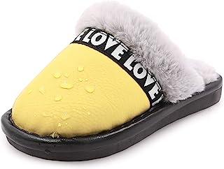 幼儿男孩女孩拖鞋蓬松毛茸茸的小孩子房屋拖鞋温暖毛绒一脚蹬防滑卧室室内户外家居拖鞋