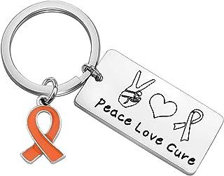 WSNANG 橙色丝带多种硬化意识珠宝和平爱**意识钥匙扣*战士礼物