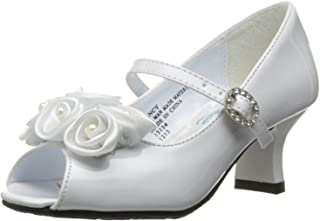 Swea Pea & Lilli 女童露趾礼服鞋,缎面花朵