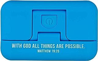 with God All Things are Possible Mathew 19:26 可调节磁性夹 LED 书灯,可用于在床上、工艺、缝纫、汽车旅行   3 种模式:明亮、暗、脉冲/频闪,蓝色