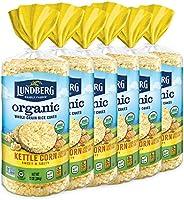 Lundberg Organic Brown Rice Cakes, Kettle Corn, 10oz (6 Count), Gluten-Free, Vegan, Usda Certified Organic, No